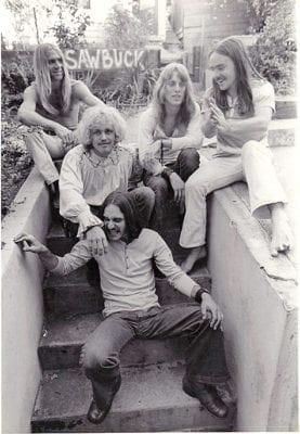 The original Sawbuck. Mojo Collins, top left; (LtoR) Chuck Ruff, Bill Church, Star Donaldso, Ronnie Montrose.
