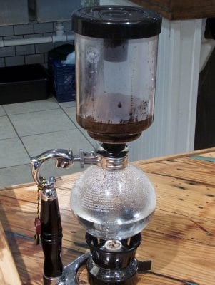 Siphon coffee, almost looking like a science experiment. Photo Kip Tabb