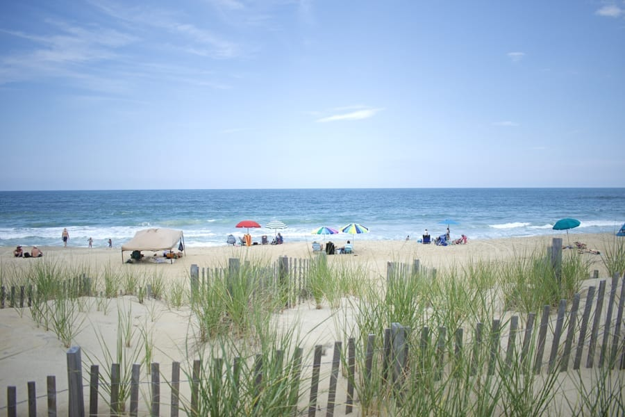 A a beautiful early summer day on the Kitty Hawk beach.