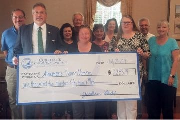The Currituck Chamber of Commerce helps Currituck Senior Nutrition Program with special donation