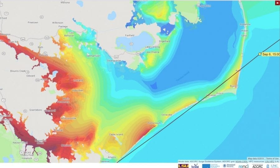 CERA storm surge predictions for Hatteras Island and Pamlico Sound.